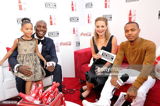 Shayla Somer Gibson actor Tyrese Gibson tv personality Poppy Jamie and actor Shad Moss attend the 2015 American Music Awards at Microsoft Theater on...