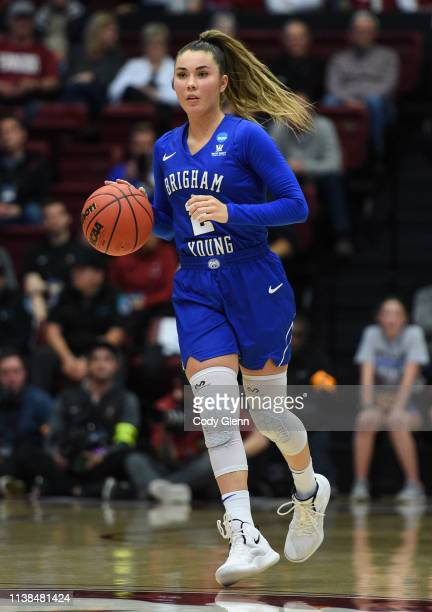 Shaylee Gonzales of the BYU Cougars during the second round of the NCAA Women's Basketball Tournament at Maples Pavilion on March 25, 2019 in Palo...