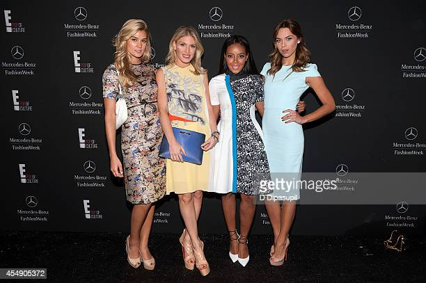 Shayna Taylor Hofit Golan Angela Simmons and Liliana Nova are seen during MercedesBenz Fashion Week Spring 2015 at Lincoln Center for the Performing...