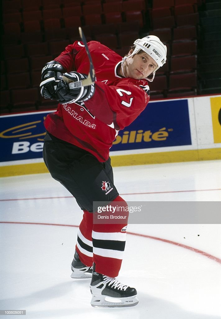 Shayne Corson #27 of Team Canada poses for a photo during practice for the 1998 Winter Olympics.