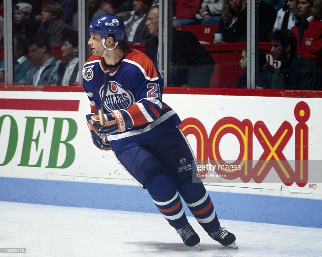 Shayne Corson #27 of the Edmonton Oilers skates against the Montreal Canadiens in the 1990's at the Montreal Forum in Montreal, Quebec, Canada.