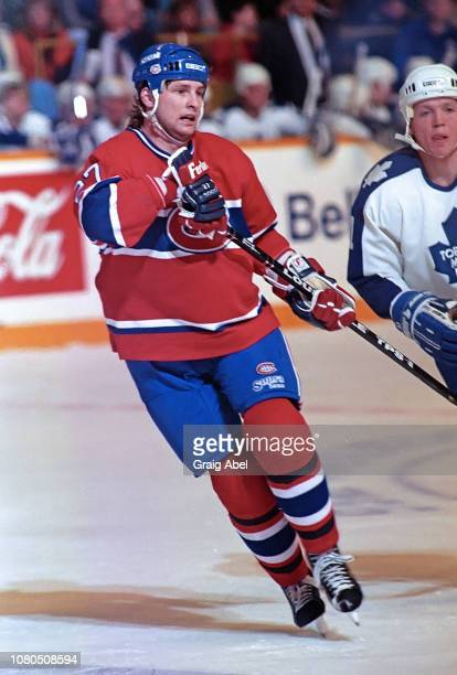 Shayne Corson of the Montreal Canadiens skates against the Toronto Maple Leafs during NHL game action on January 27 1990 at Maple Leaf Gardens in...