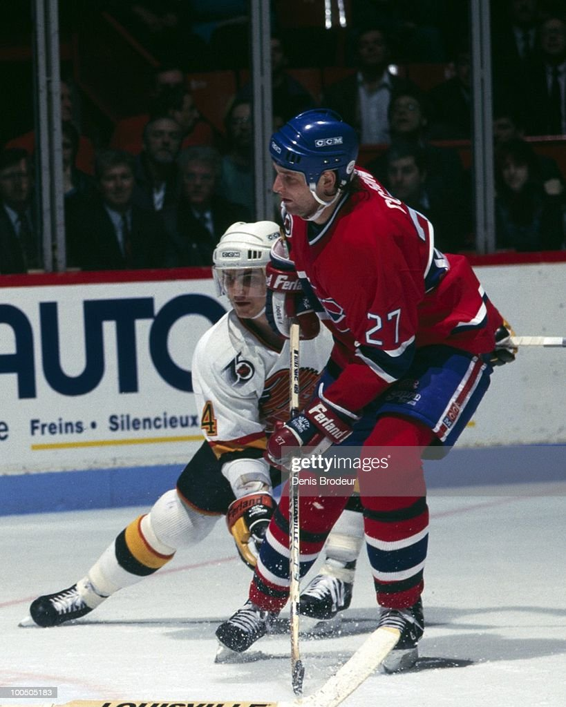 Shayne Corson #27 of the Montreal Canadiens skates in the late 1980's at the Montreal Forum in Montreal, Quebec, Canada.