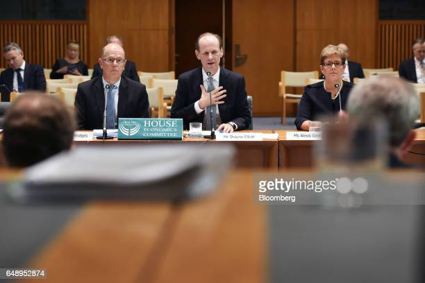 Shayne Elliott chief executive officer of Australia New Zealand Banking Group Ltd center speaks during a hearing before the House of Representatives...