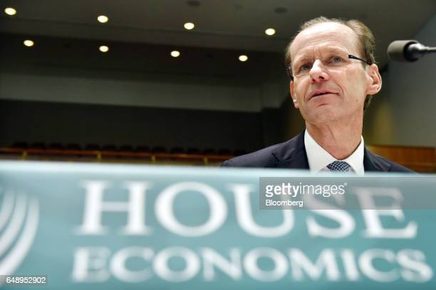 Shayne Elliott chief executive officer of Australia New Zealand Banking Group Ltd attends a hearing before the House of Representatives Standing...