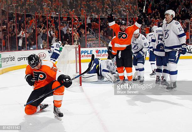 Shayne Gostisbehere of the Philadelphia Flyers celebrates his goal at 1651 of the second period against the Tampa Bay Lightning at the Wells Fargo...