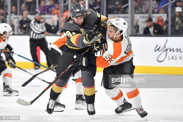Shayne Gostisbehere of the Philadelphia Flyers defends Jonathan Marchessault of the Vegas Golden Knights during the game at TMobile Arena on February...