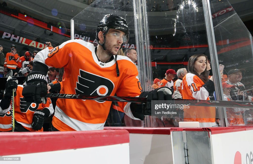 Shayne Gostisbehere #53 of the Philadelphia Flyers enters the ice surface for warmups prior to his game against the Boston Bruins on April 1, 2018 at the Wells Fargo Center in Philadelphia, Pennsylvania.