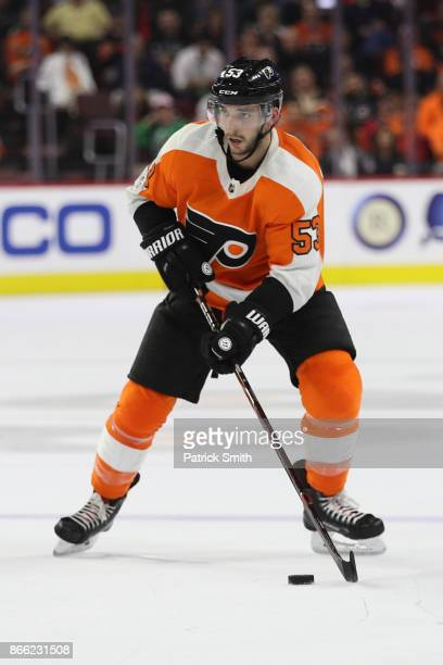 Shayne Gostisbehere of the Philadelphia Flyers in action against the Anaheim Ducks during the second period at Wells Fargo Center on October 24 2017...