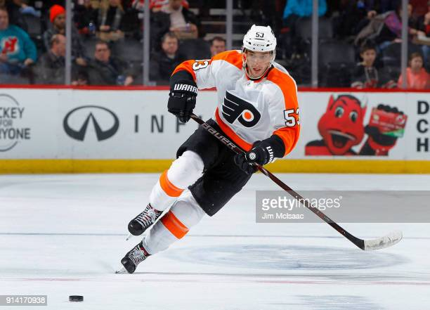 Shayne Gostisbehere of the Philadelphia Flyers in action against the New Jersey Devils on February 1 2018 at Prudential Center in Newark New Jersey...
