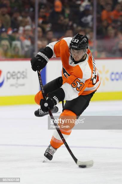 Shayne Gostisbehere of the Philadelphia Flyers in action against the Columbus Blue Jackets during the second period at Wells Fargo Center on March 15...