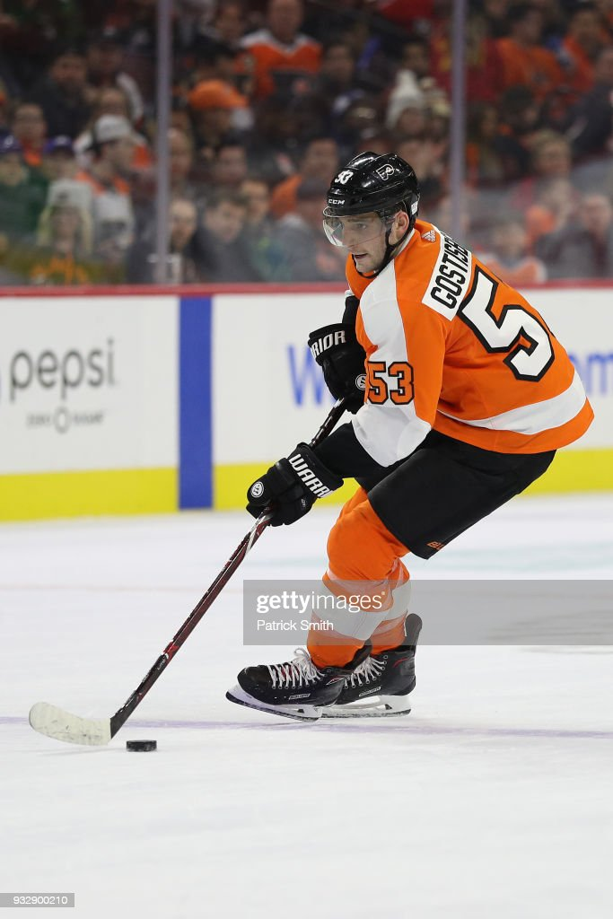 Shayne Gostisbehere #53 of the Philadelphia Flyers in action against the Columbus Blue Jackets during the second period at Wells Fargo Center on March 15, 2018 in Philadelphia, Pennsylvania.