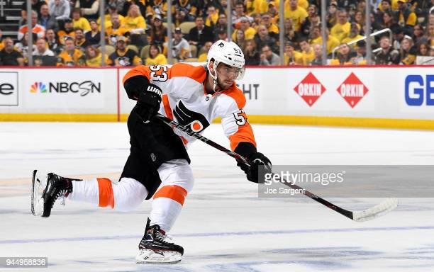 Shayne Gostisbehere of the Philadelphia Flyers in action against the Pittsburgh Penguins in Game One of the Eastern Conference First Round during the...