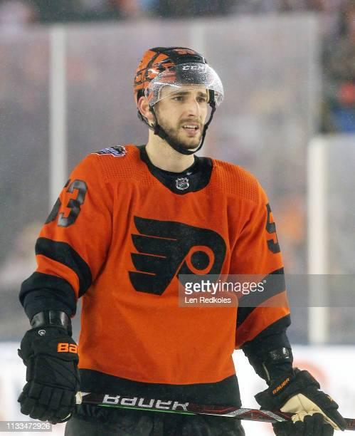 Shayne Gostisbehere of the Philadelphia Flyers looks on against the Pittsburgh Penguins at the 2019 Coors Light NHL Stadium Series on February 23...