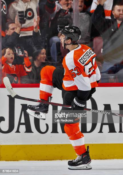 Shayne Gostisbehere of the Philadelphia Flyers reacts after scoring a second period goal against the New York Islanders on November 24 2017 at the...