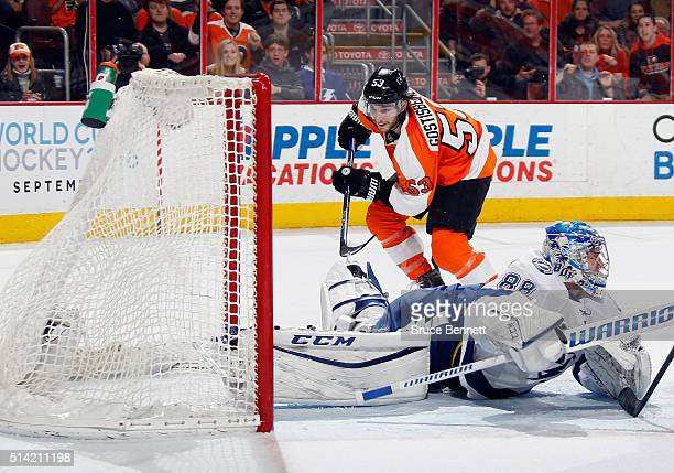 Shayne Gostisbehere of the Philadelphia Flyers scores at 1651 of the second period against Andrei Vasilevskiy of the Tampa Bay Lightning at the Wells...