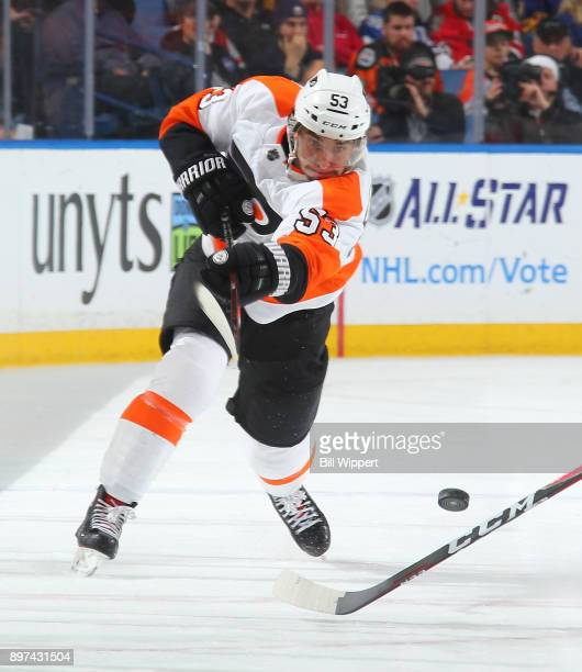 Shayne Gostisbehere of the Philadelphia Flyers shoots the puck during the second period of an NHL game against the Buffalo Sabres on December 22 2017...