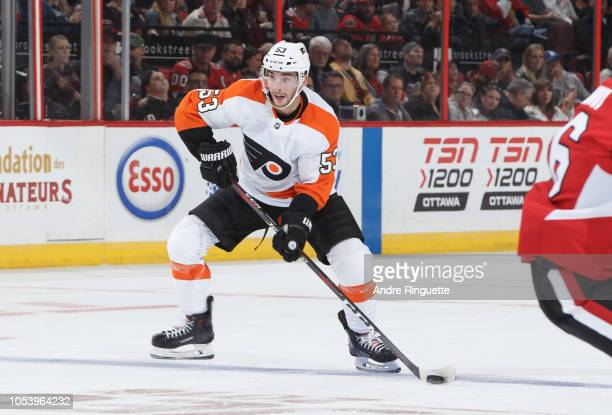 Shayne Gostisbehere of the Philadelphia Flyers skates against the Ottawa Senators at Canadian Tire Centre on October 10 2018 in Ottawa Ontario Canada