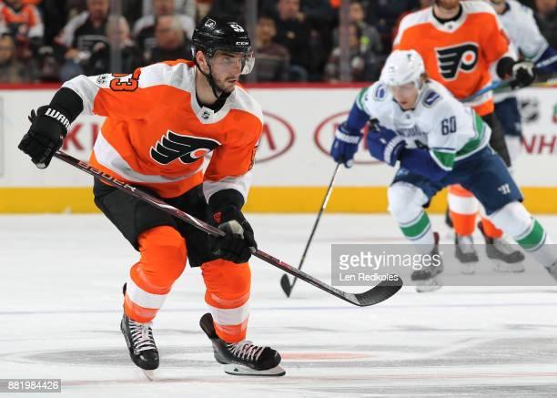 Shayne Gostisbehere of the Philadelphia Flyers skates against the Vancouver Canucks on November 21 2017 at the Wells Fargo Center in Philadelphia...