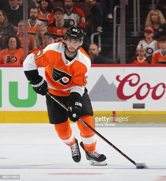 Shayne Gostisbehere of the Philadelphia Flyers skates against the Pittsburgh Penguins in Game Six of the Eastern Conference First Round during the...