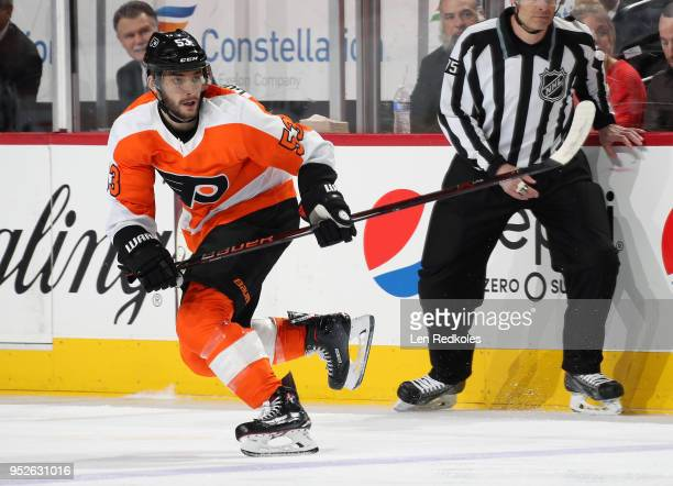 Shayne Gostisbehere of the Philadelphia Flyers skates back on defense against the Pittsburgh Penguins in Game Six of the Eastern Conference First...