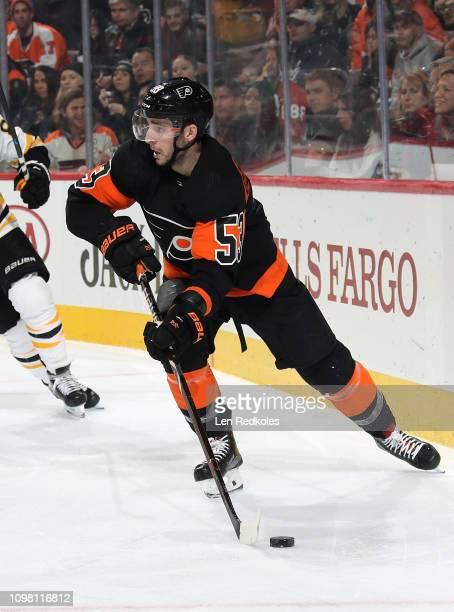Shayne Gostisbehere of the Philadelphia Flyers skates the puck against the Boston Bruins on January 16 2019 at the Wells Fargo Center in Philadelphia...