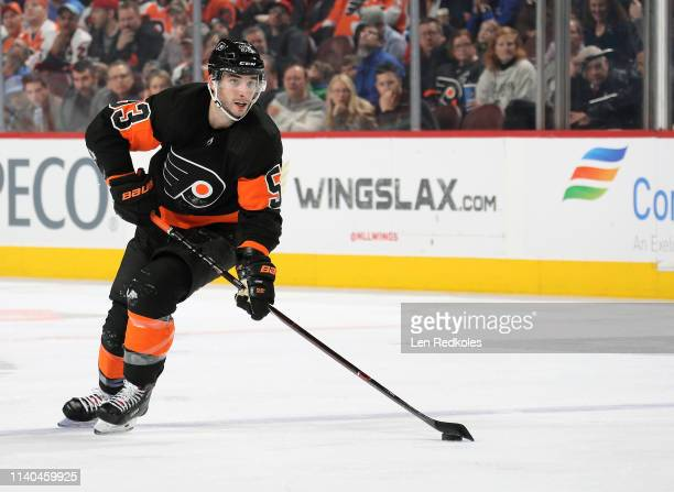 Shayne Gostisbehere of the Philadelphia Flyers skates the puck against the New York Rangers on March 31 2019 at the Wells Fargo Center in...