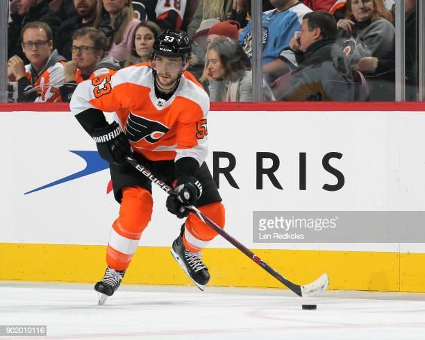 Shayne Gostisbehere of the Philadelphia Flyers skates the puck against the Pittsburgh Penguins on January 2 2018 at the Wells Fargo Center in...