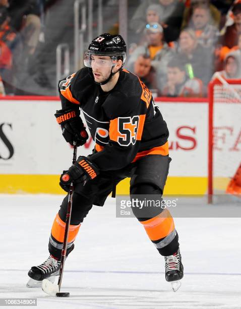 Shayne Gostisbehere of the Philadelphia Flyers takes the puck in the second period against the Chicago Blackhawks at Wells Fargo Center on November...