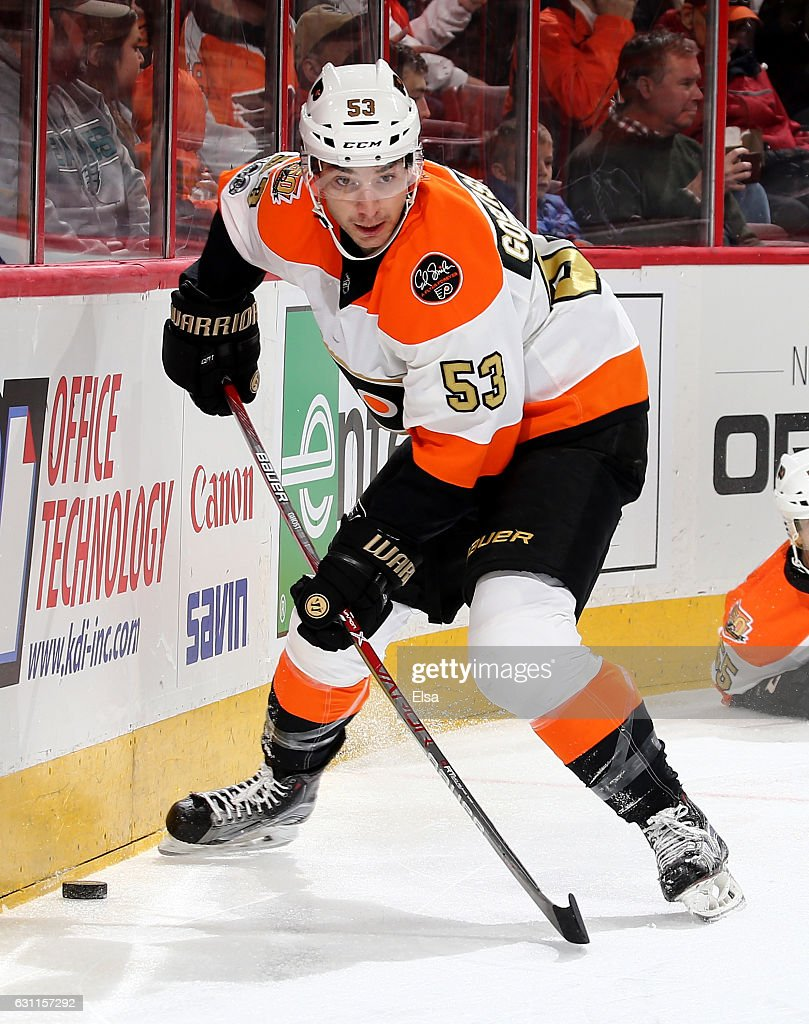 Shayne Gostisbehere #53 of the Philadelphia Flyers takes the puck in the second period against the Tampa Bay Lightning on January 7, 2017 at Wells Fargo Center in Philadelphia, Pennsylvania.