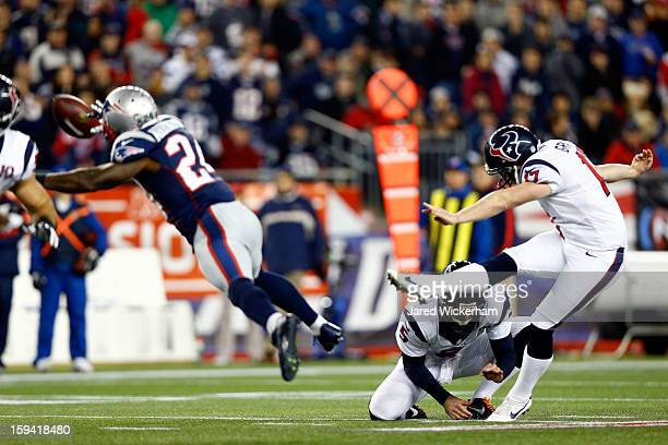 Shayne Graham of the Houston Texans kicks a 55 yard field goal at the end of the second half against the New England Patriots during the 2013 AFC...
