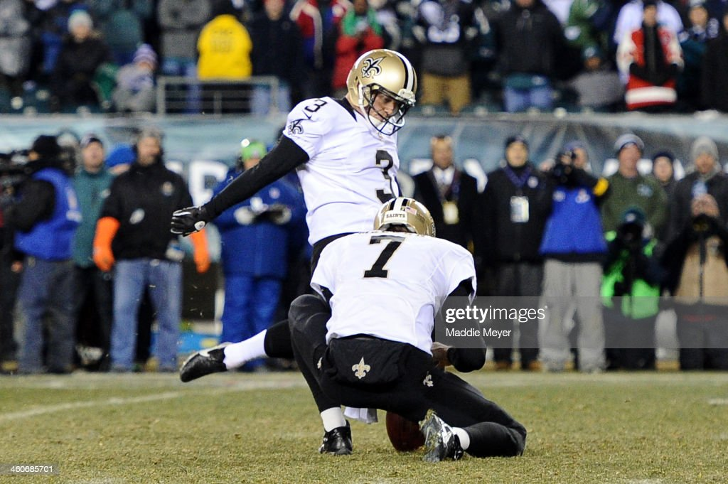 Shayne Graham #3 of the New Orleans Saints kicks a 32 yard game winning field goal to defeat the Philadelphia Eagles in their NFC Wild Card Playoff game at Lincoln Financial Field on January 4, 2014 in Philadelphia, Pennsylvania. The New Orleans Saints defeated the Philadelphia Eagles 26 - 24.