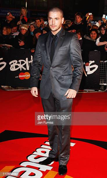 Shayne Ward arrives at the The Brit Awards 2008 at Earls Court on February 20 2008 in London England