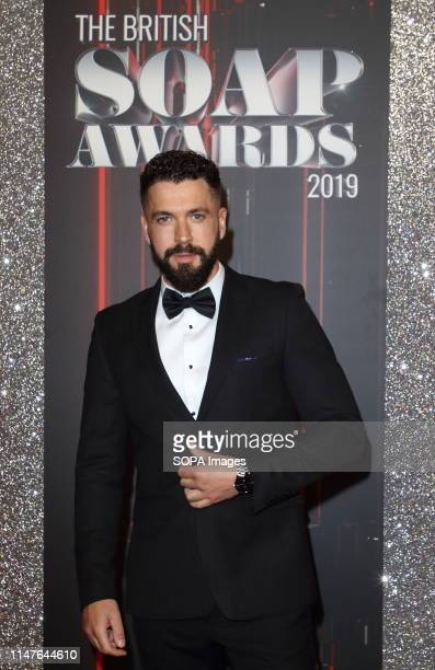 Shayne Ward arrives on the red carpet during The British Soap Awards 2019 at The Lowry Media City Salford in Manchester
