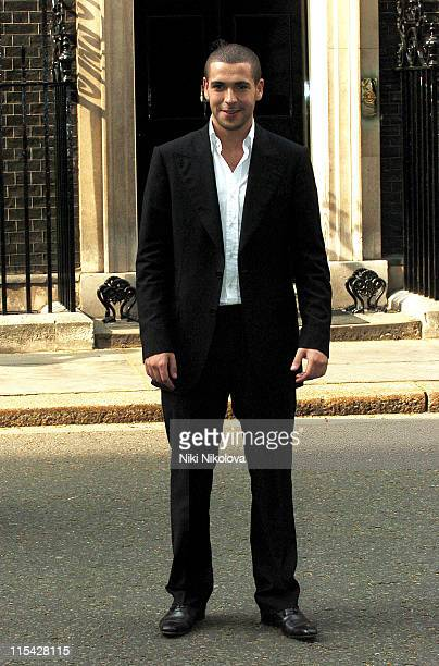 Shayne Ward during First News Launch Reception Outside Arrivals at 11 Downing Street in London Great Britain