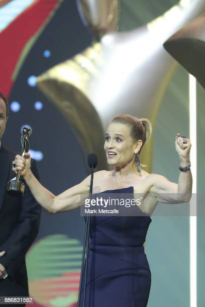 Shaynna Blaze accepts the AACTA Award on behald of Selling Houses for Best Lifestyle Television Program during the 7th AACTA Awards Presented by...