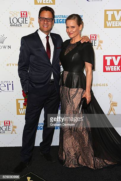 Shaynna Blaze and Andrew Winter arrive at the 58th Annual Logie Awards at Crown Palladium on May 8 2016 in Melbourne Australia