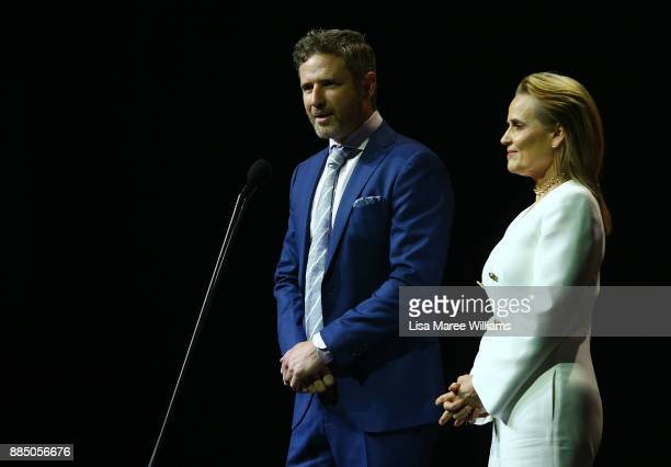 Shaynna Blaze and Bernard Curry present on stage during the 7th AACTA Awards Presented by Foxtel | Industry Luncheon at The Star on December 4 2017...