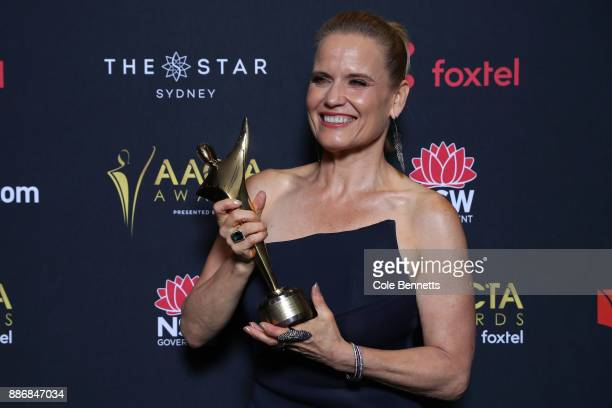 Shaynna Blaze poses with an AACTA Award for Best Lifestyle Television Program during the 7th AACTA Awards Presented by Foxtel | Ceremony at The Star...