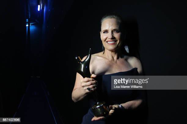 Shaynna Blaze poses with an AACTA Award for Best Lifestyle Television Program backstage during the 7th AACTA Awards Presented by Foxtel at The Star...