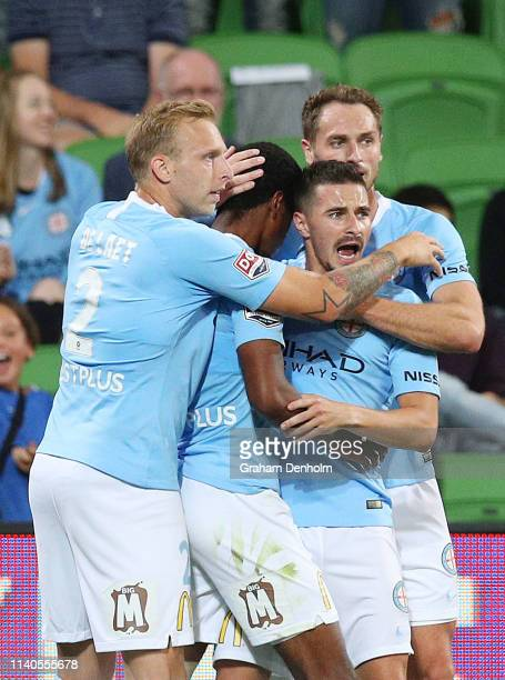 Shayon Harrison of Melbourne City celebrates his goal with his teammates during the round 24 ALeague match between Melbourne City and the Brisbane...