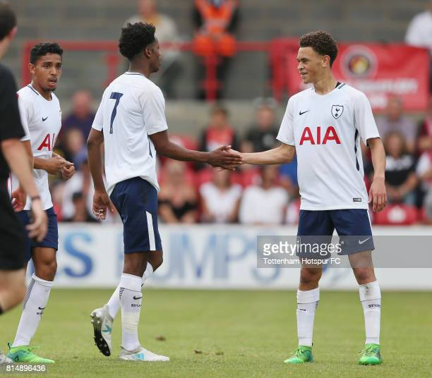 Shayon Harrison of Tottenham clebrates scoring their first goal with Luke Amos during the preseason friendly match between Ebbsfleet United and...
