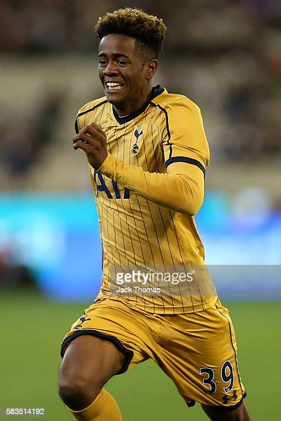 Shayon Harrison of Tottenham during the 2016 International Champions Cup match between Juventus FC and Tottenham Hotspur at Melbourne Cricket Ground...