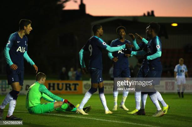 Shayon Harrison of Tottenham Hotspur celebrates with team mates after scoring his second goal during the Premier League 2 match between Blackburn...
