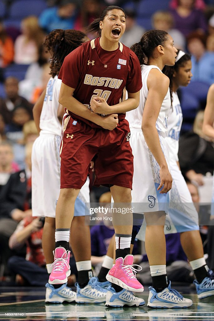Shayra Brown #20 of the Boston College Eagles reacts against the North Carolina Tar Heels during the quarterfinals of the 2013 Women's ACC Tournament at the Greensboro Coliseum on March 8, 2013 in Greensboro, North Carolina.
