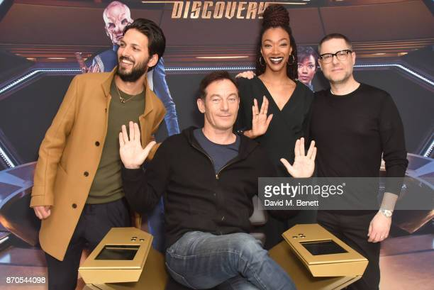 Shazad Latif Jason Isaacs Sonequa MartinGreen and Aaron Harberts during the 'Star Trek Discovery' photocall at Millbank Tower on November 5 2017 in...