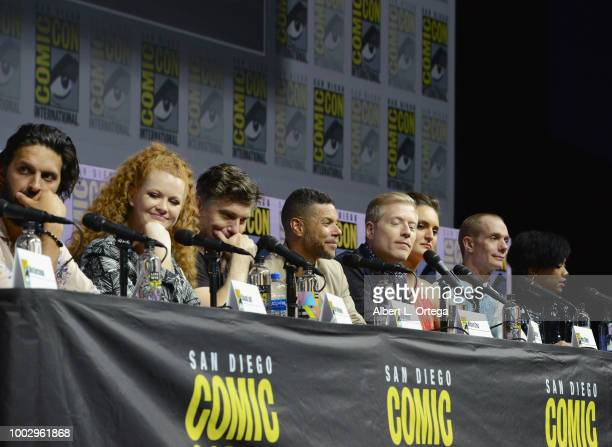 Shazad Latif Mary Wiseman Anson Mount Wilson Cruz Anthony Rapp Mary Chieffo Doug Jones and Sonequa MartinGreen speak onstage at the 'Star Trek...