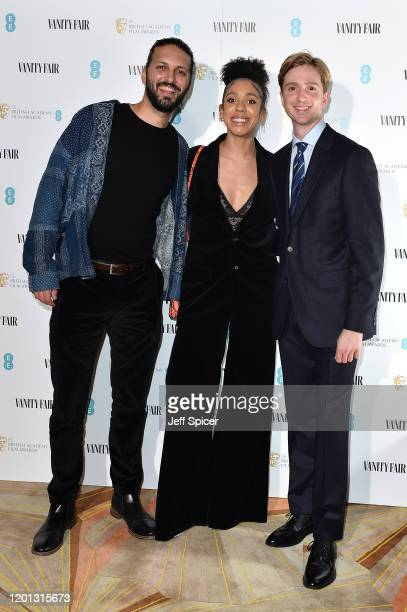Shazad Latif Pearl Mackie and Luke Newberry attend the Vanity Fair EE Rising Star BAFTAs Pre Party at The Standard on January 22 2020 in London...
