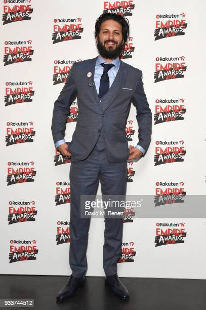 Shazad Latif poses in the winners room at the Rakuten TV EMPIRE Awards 2018 at The Roundhouse on March 18 2018 in London England