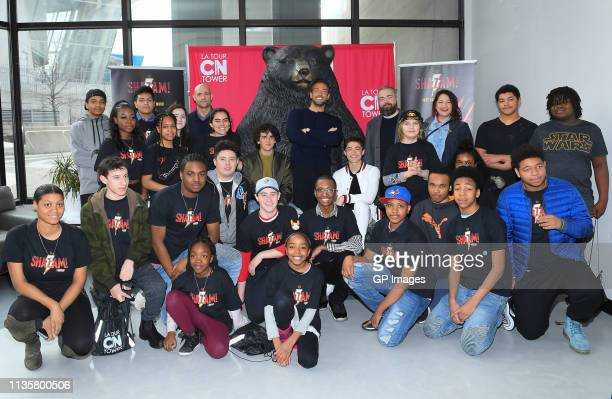 Shazam! cast Mark Strong, Jack Dylan Grazer, Zachary Levi, Asher Angel and Director David F. Sandberg pose with Big Brothers And Sisters at Canada's...